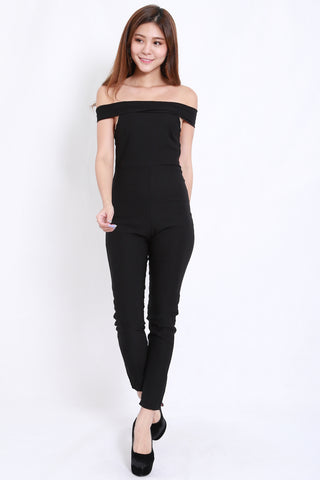 Straight Off Shoulder Jumpsuit (Black)