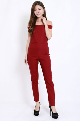 Straight Off Shoulder Jumpsuit (Maroon)