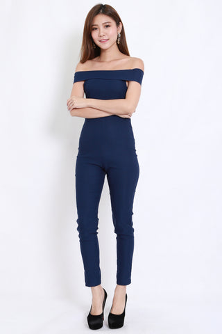 Straight Off Shoulder Jumpsuit (Navy)