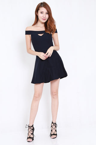 Straight Offsie Skater Dress (Navy)