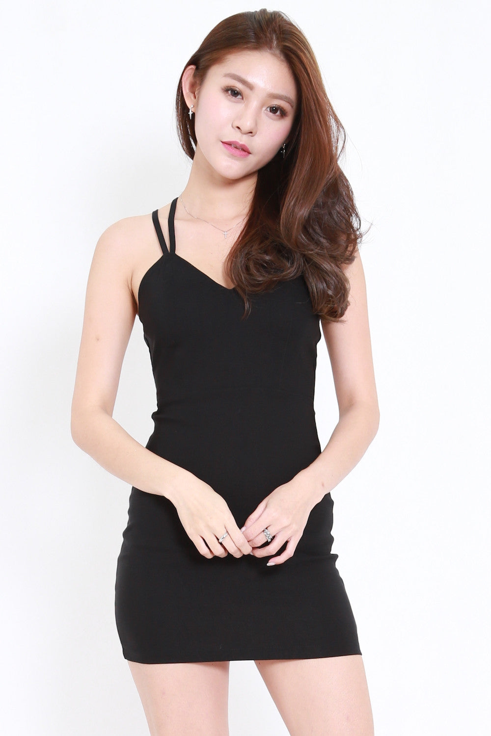 Strappy Back Cage Dress (Black)
