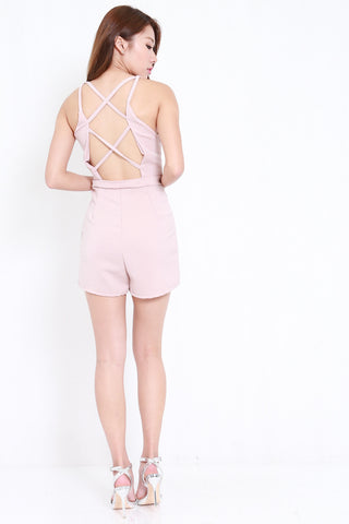 Strappy Cross Back Romper (Blush)