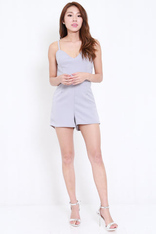 Strappy Cross Back Romper (Grey)