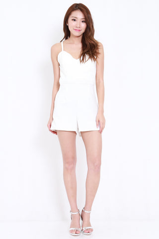 Strappy Cross Back Romper (White)