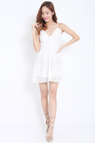 Strappy Lace Dress (White) -  - 2