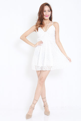 Strappy Lace Dress (White) -  - 1