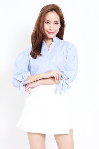 Stripes Ribbon Sleeves Shirt