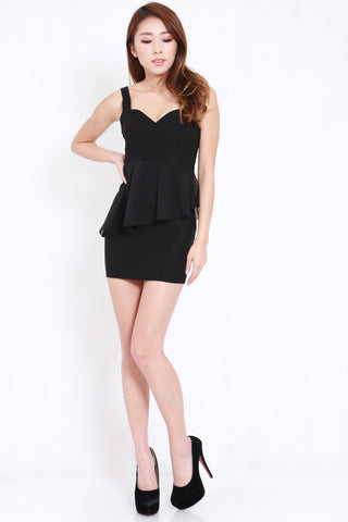 Sweetheart Cage Back Dress (Black)
