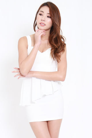 Sweetheart Cage Back Dress (White)