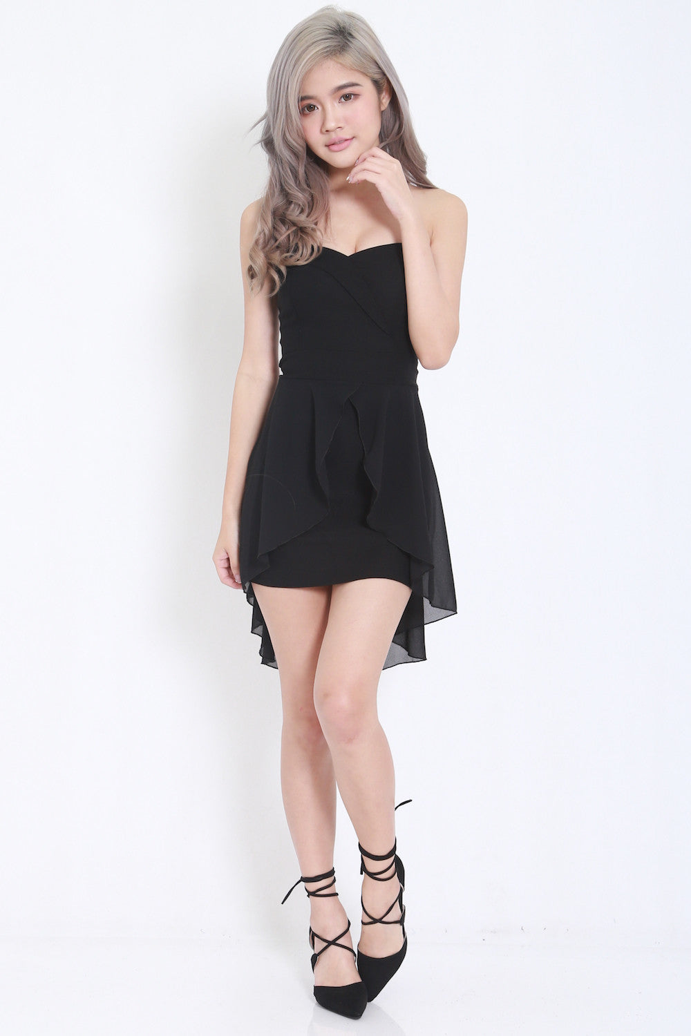 Sweetheart Drape Dress (Black) -  - 4