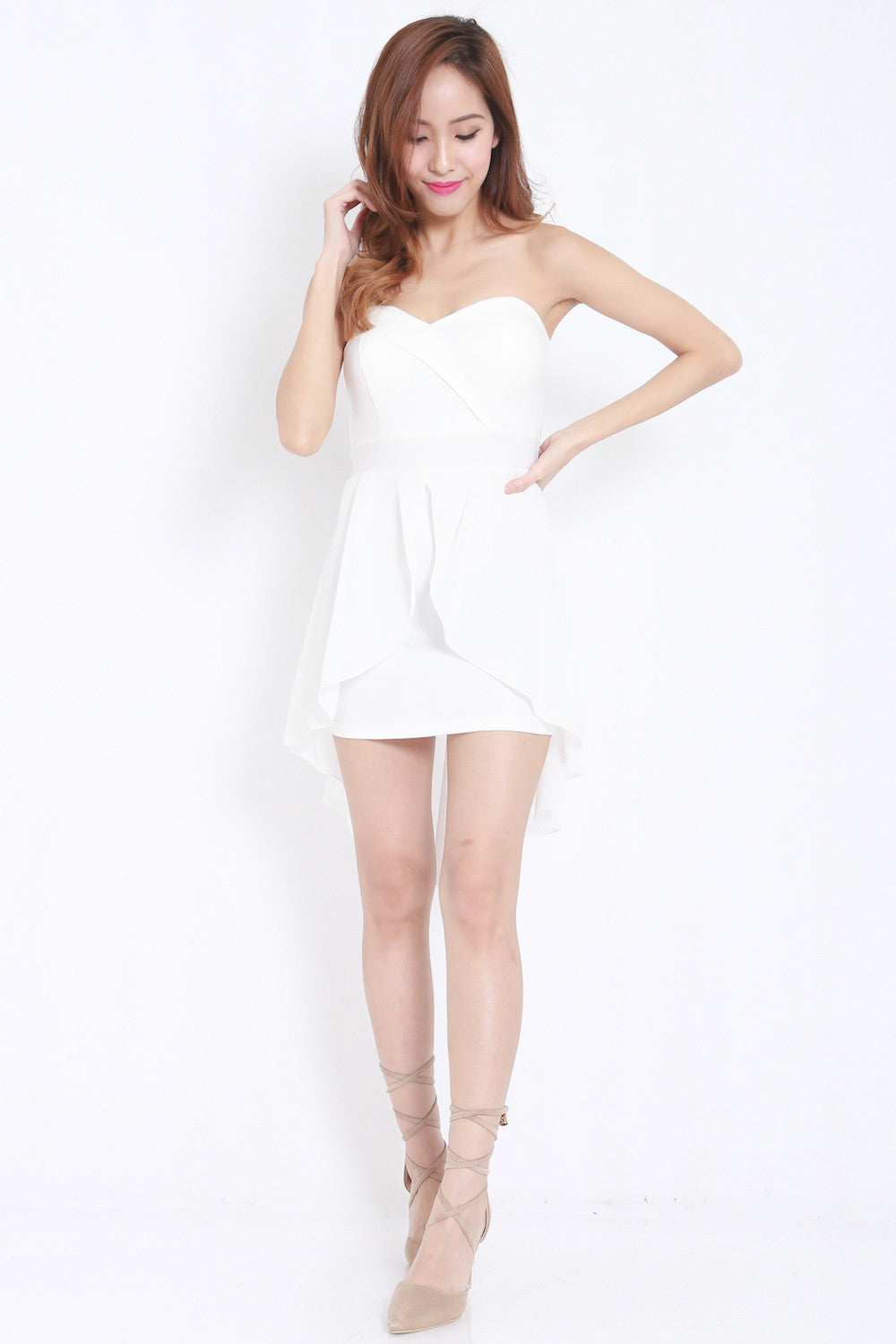 Sweetheart Drape Dress (White) -  - 1
