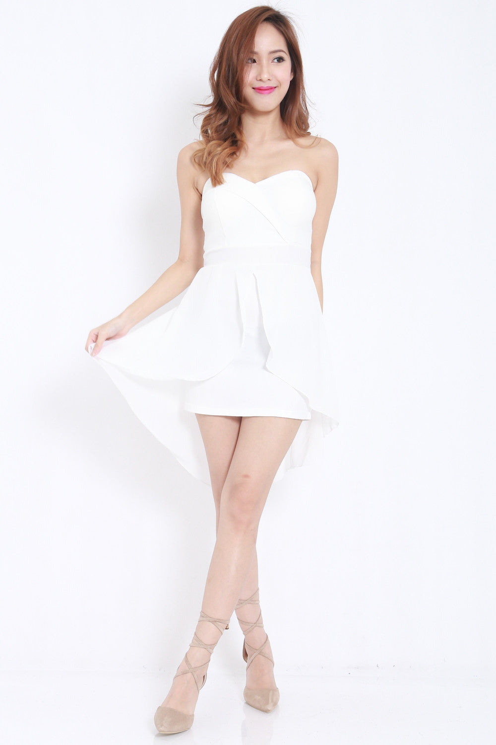 Sweetheart Drape Dress (White) -  - 2