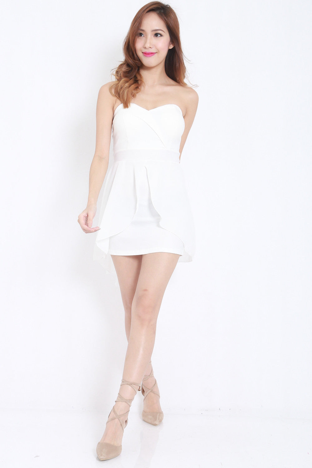 Sweetheart Drape Dress (White) -  - 3