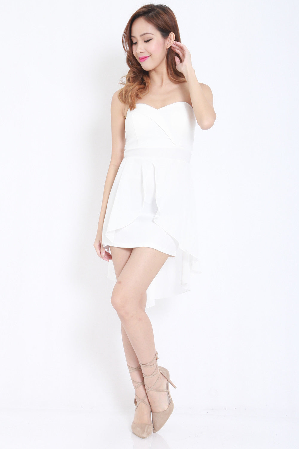Sweetheart Drape Dress (White) -  - 4