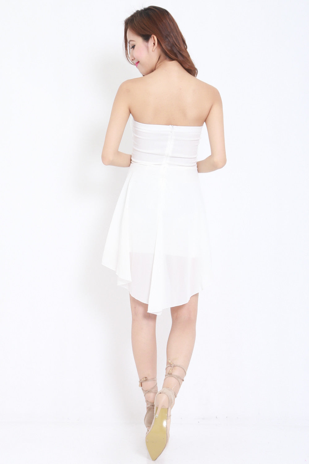 Sweetheart Drape Dress (White)