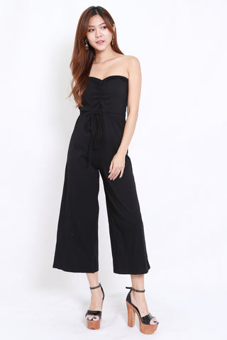Sweetheart Drawstring Jumpsuit (Black)
