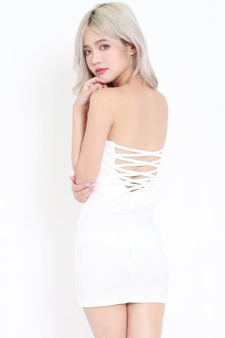 Sweetheart Lace Back Dress (White)
