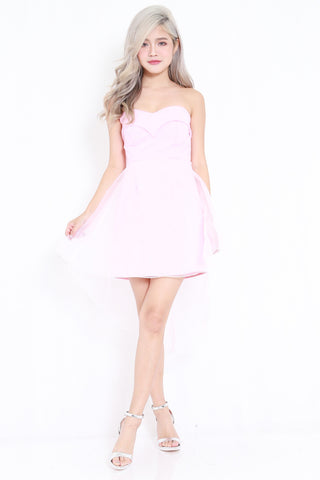 Sweetheart Mesh Drape Dress (Pink)