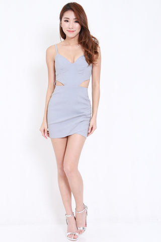 Sweetheart Side Cutout Dress (Grey)