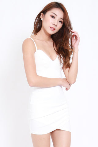 Sweetheart Side Cutout Dress (White)