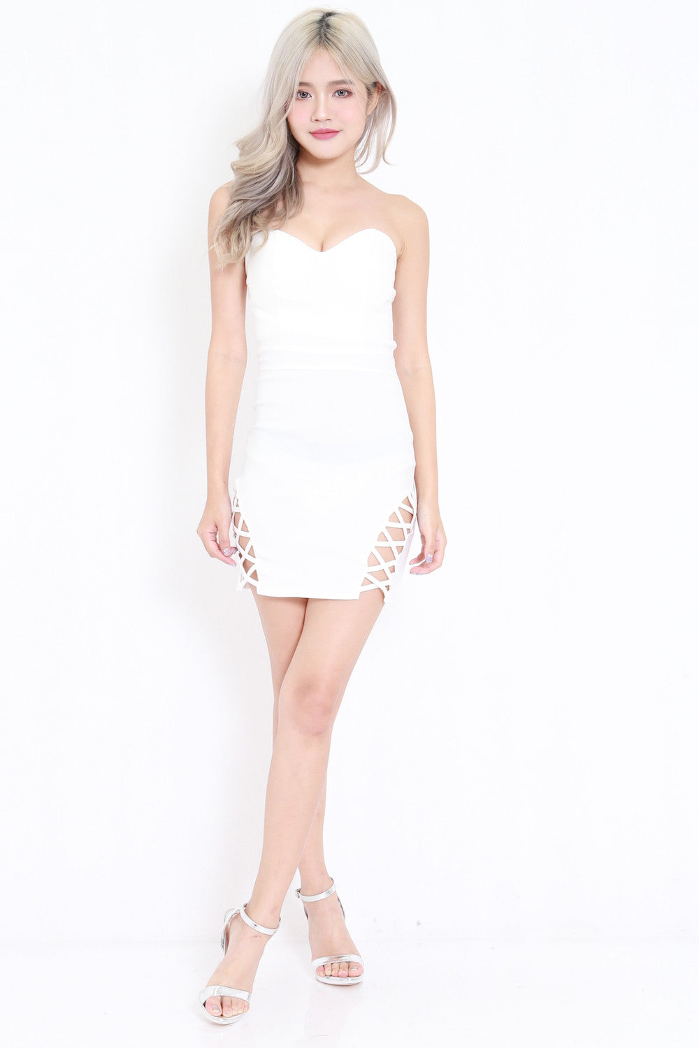 Sweetheart Side Lace Dress (White)