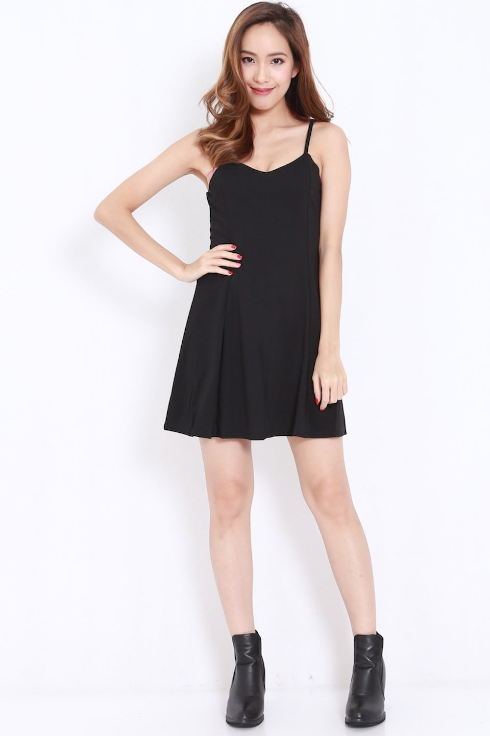 Sweetheart Skater Dress (Black)