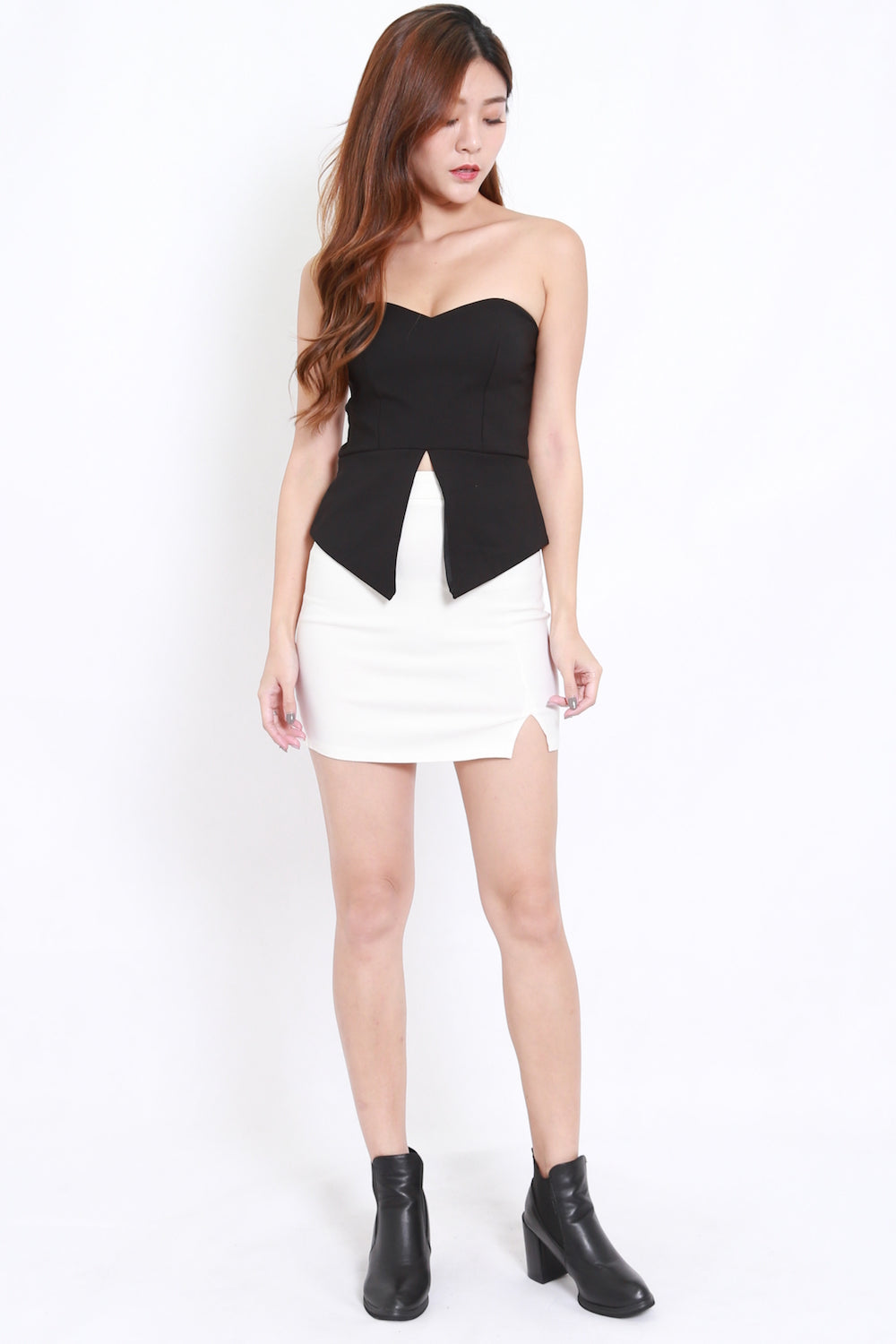 Sweetheart Slit Tube Top (Black)