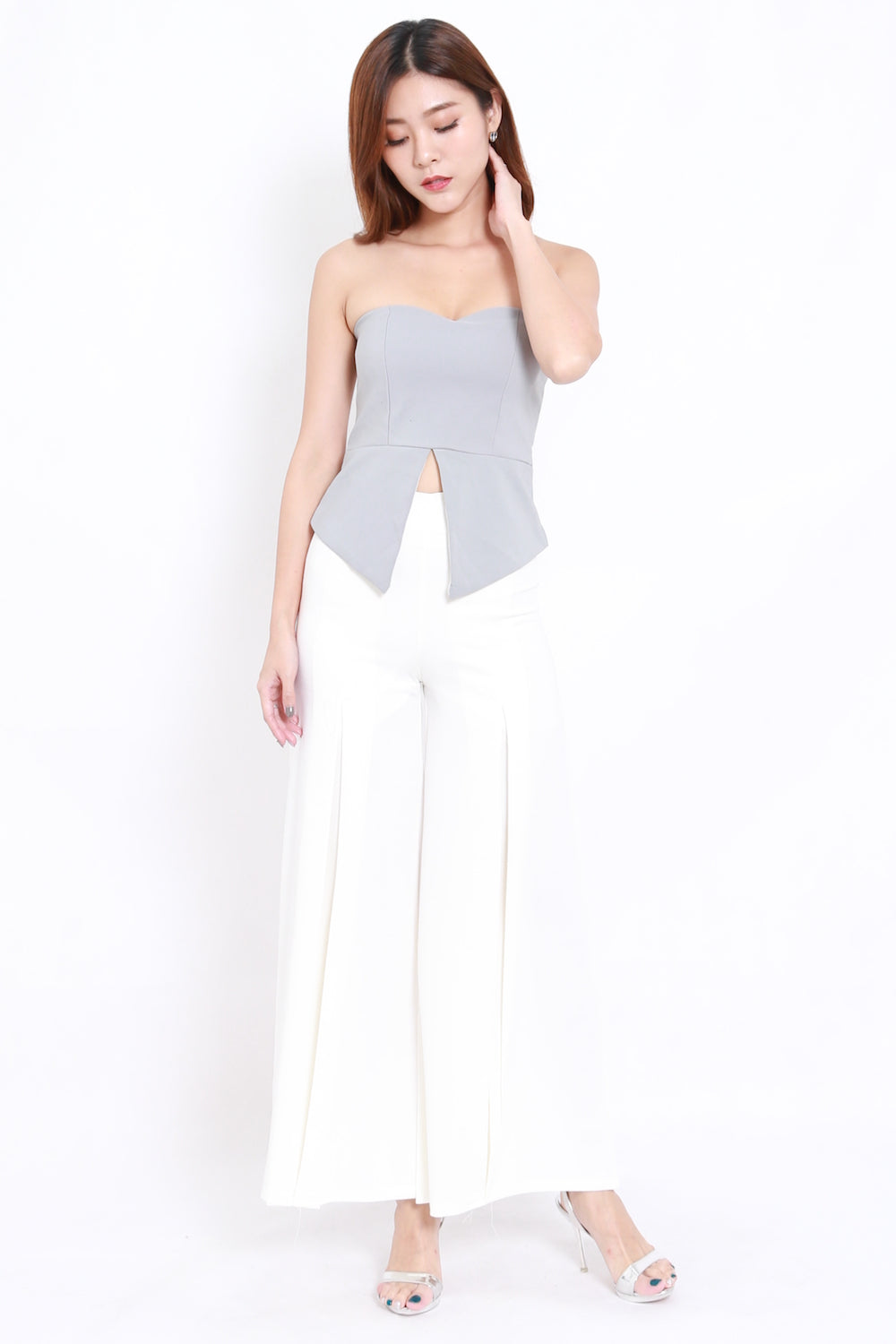Sweetheart Slit Tube Top (Grey)