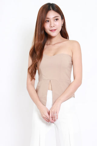 Sweetheart Slit Tube Top (Nude)
