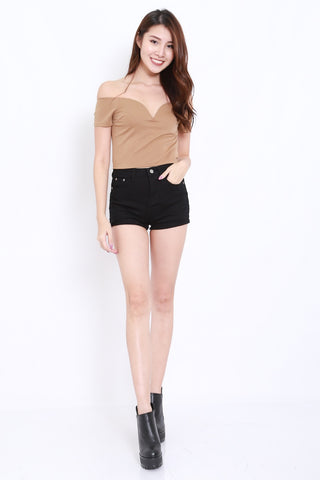 Sweetheart V Crop Offsie (Taupe)