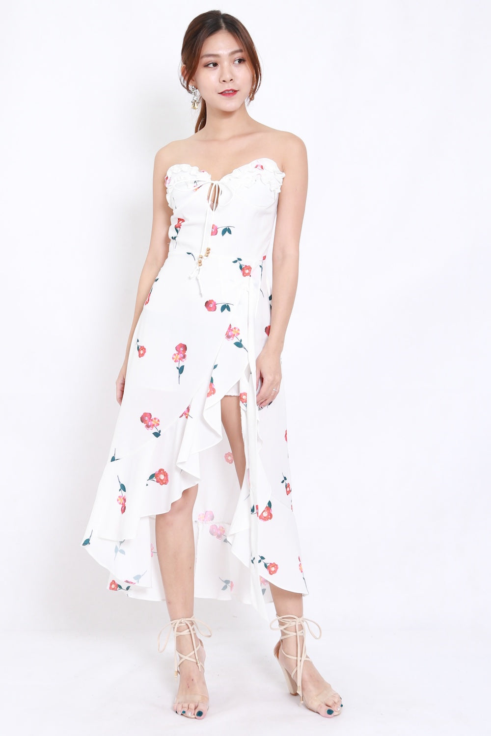 Sweetheart Waterfall Floral Maxi Dress