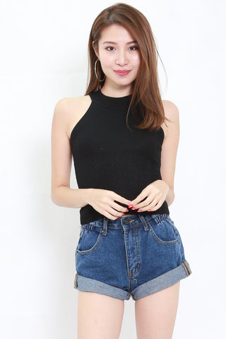 Talia High Neck Knit Top (Black)