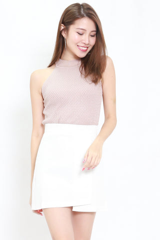 Talia High Neck Knit Top (Nude)