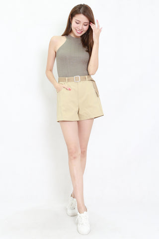 Talia High Neck Knit Top (Khaki)