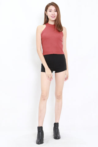 Talia High Neck Knit Top (Rosewood)