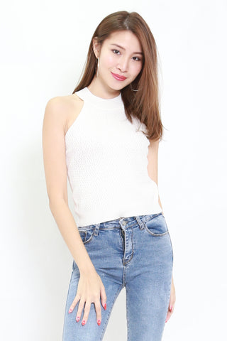 Talia High Neck Knit Top (White)