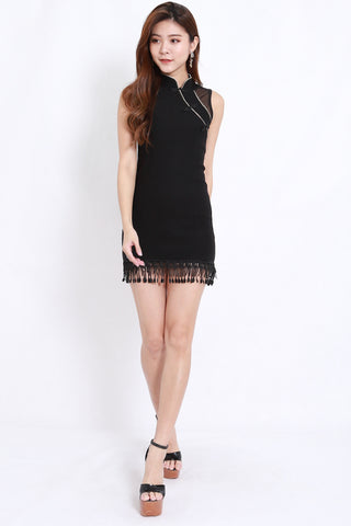 Tassel Mesh Cheongsam Dress (Black)