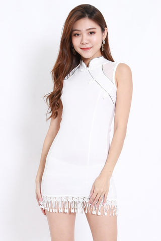 Tassel Mesh Cheongsam Dress (White)