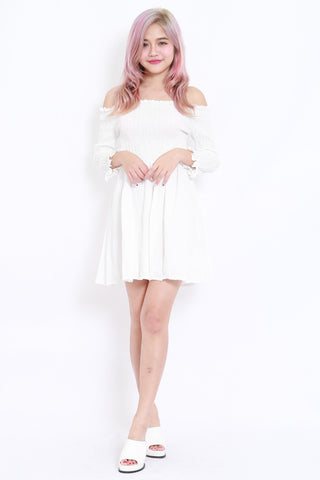 55a3386eb Textured Offsie Dress LS (White)