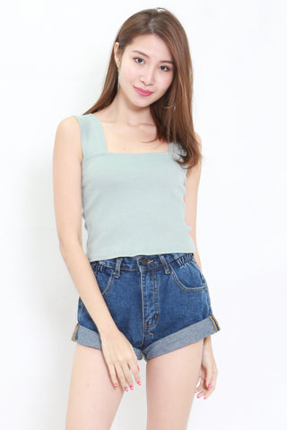 Thick Strap Ribbed Top (Blue)