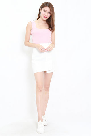 Thick Strap Ribbed Top (Pink)