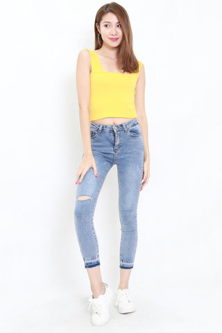 Thick Strap Ribbed Top (Yellow)
