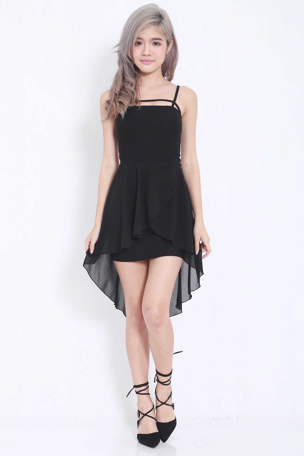 Thin Strap Drape Dress (Black) -  - 1