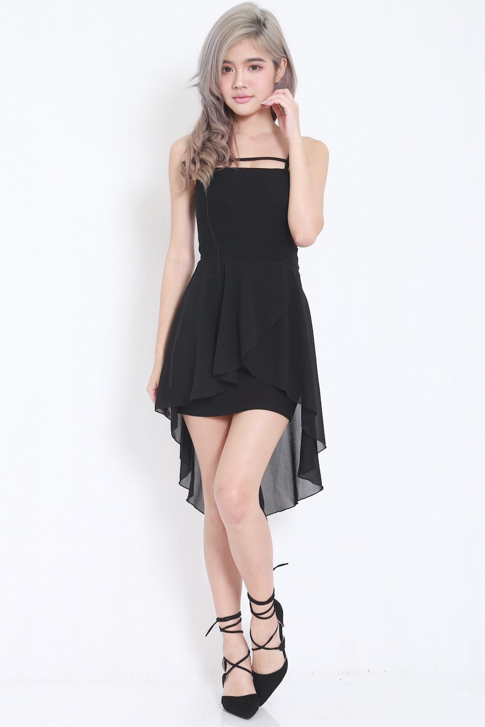 Thin Strap Drape Dress (Black) -  - 4
