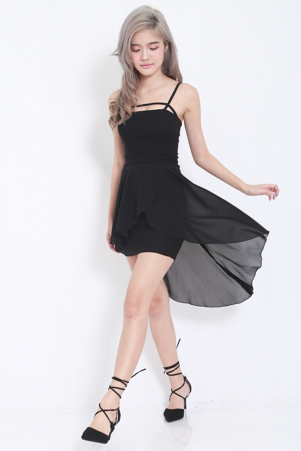 Thin Strap Drape Dress (Black) -  - 2