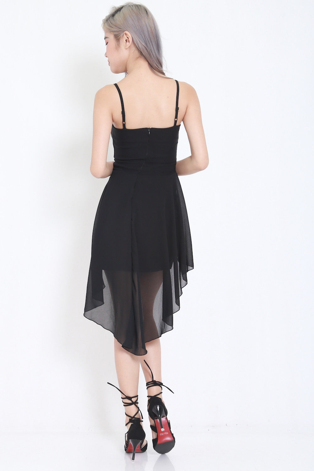 Thin Strap Drape Dress (Black) -  - 5