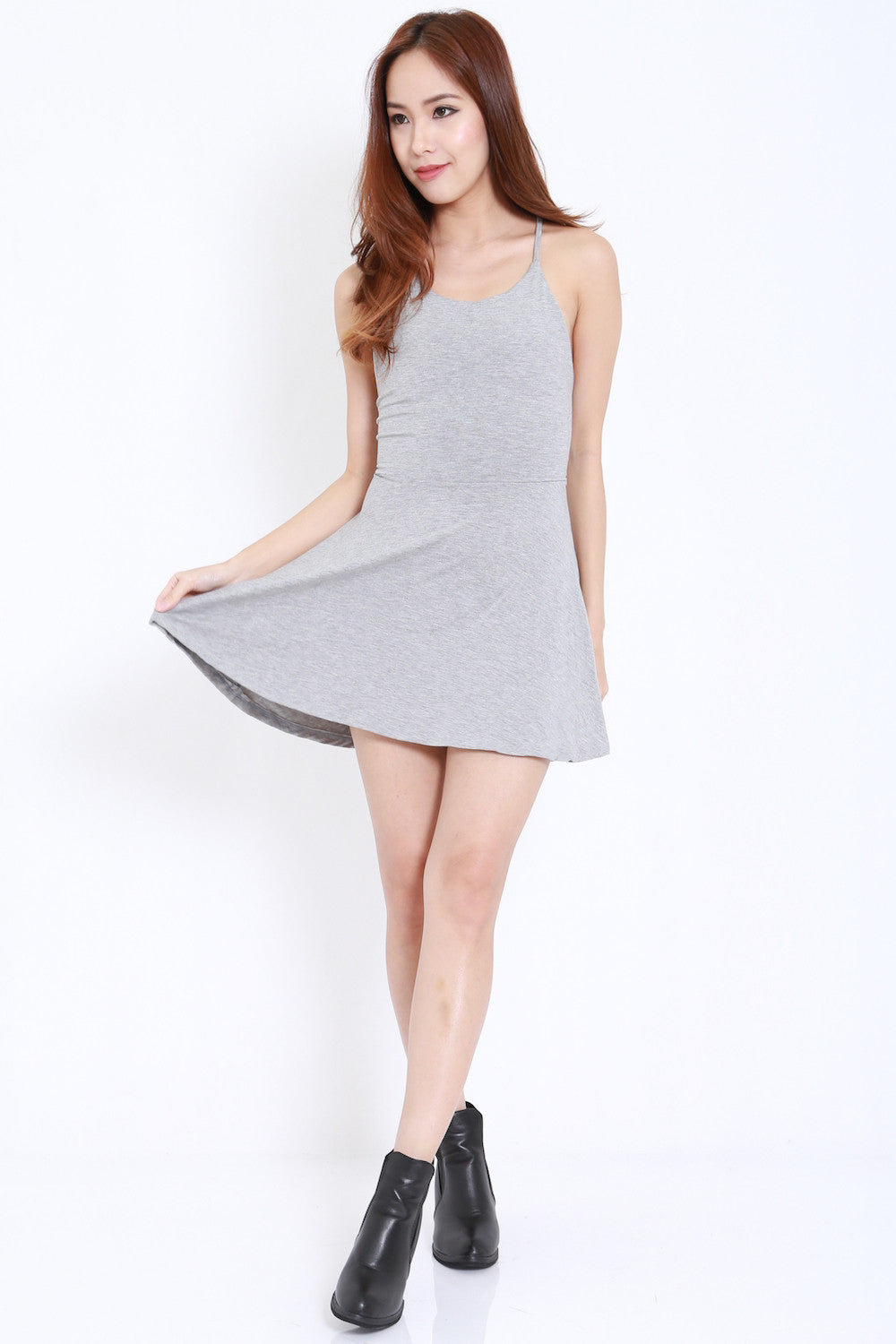 Tie Back Skater Dress (Light Grey) -  - 3