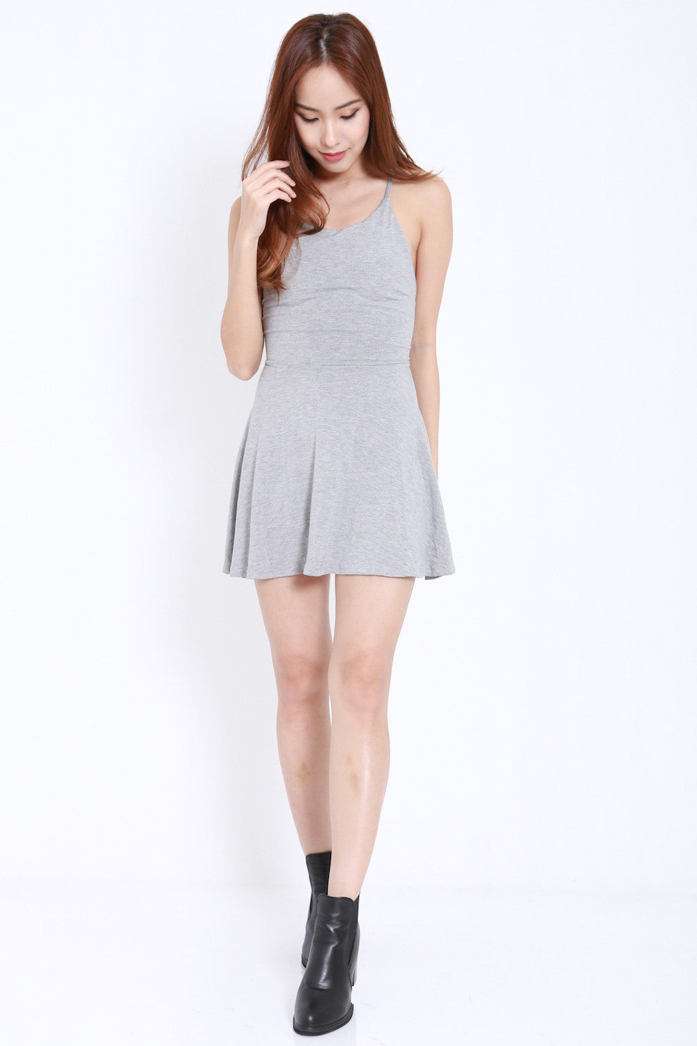 Tie Back Skater Dress (Light Grey) -  - 1