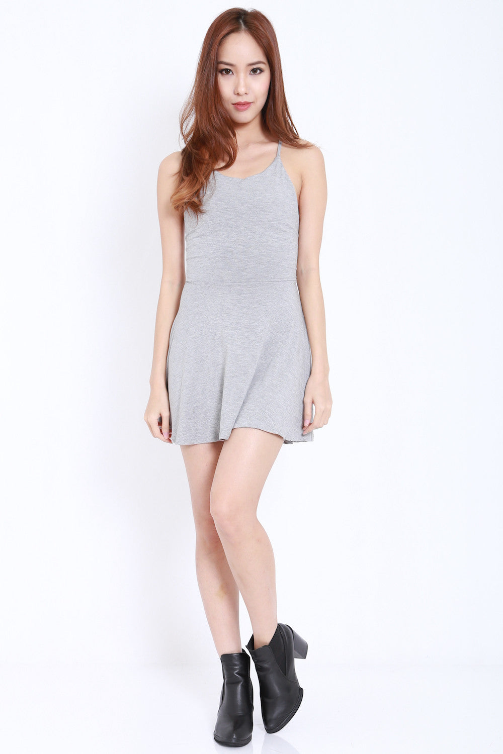 Tie Back Skater Dress (Light Grey) -  - 4