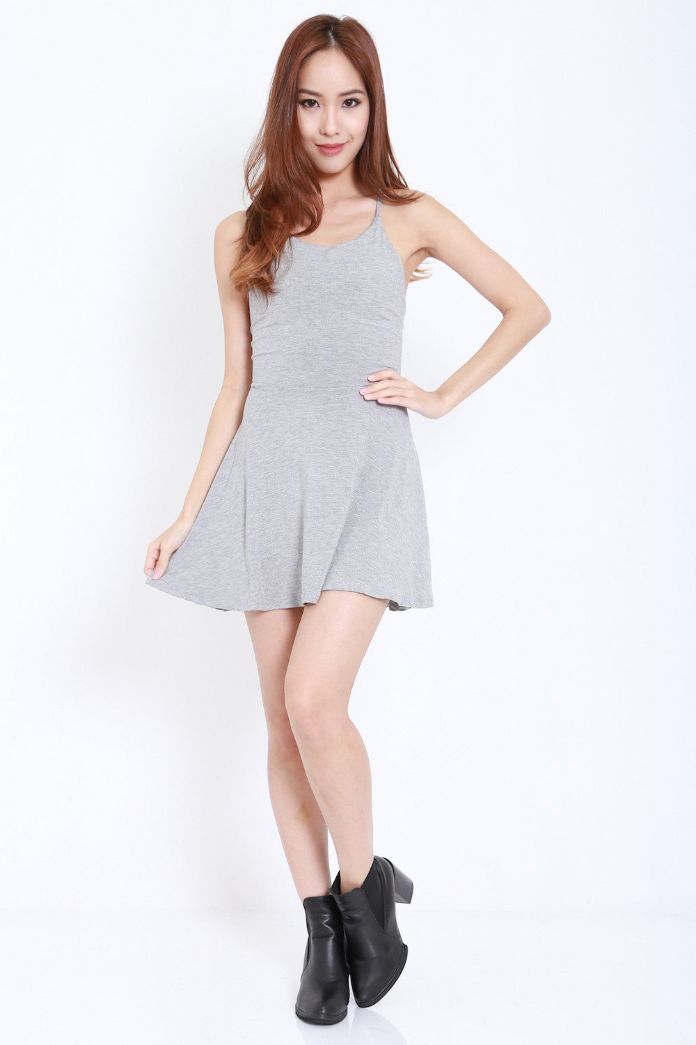 Tie Back Skater Dress (Light Grey)